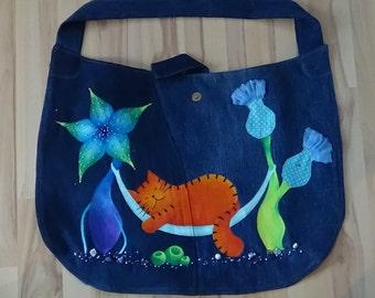 UniCat Bag - recycled denim, handpainted denim bag, cat purse