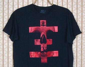 Psychic TV t-shirt, rare OOP tee shirt, black red skull, Throbbing Gristle, Genesis P-Orridge, Coil, Chris & Cosey, PTV3, punk