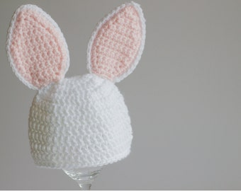 READY TO SHIP Baby Bunny Hat, Newborn Halloween Hat, Crochet Infant Hat, Rabbit Hat, Easter Animal Character, Baby Niece Gift, Photo Prop