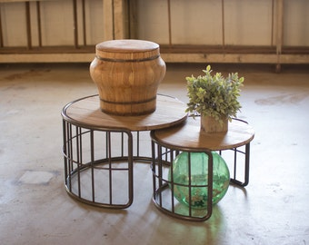 Numero 5 Nesting Iron & Wood Coffee Tables