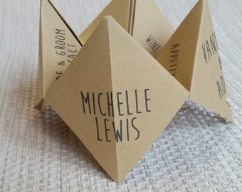 Wedding Place Cards, Name Cards, Menu - Origami creative unique different and fun