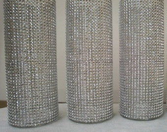Set of 10 Rhinestone Wrap Glass Cylinder Vases: Wedding or Special Event