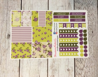 Violet Shabby Chic Planner Stickers - Made to fit Vertical Layout