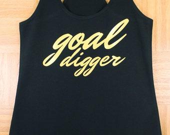 Women's goal digger Fitness Gym Tank. Workout Tank.  Tank. Gym Clothes. Causal Tank. Exercise Tank Cute Gym Tanks
