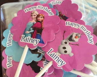 12 Personalized double sided Frozen Cupcake Toppers Birthday Party Favors