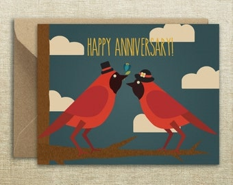 Cardinal Happy Anniversary Card