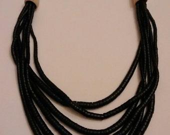 Vintage black Beaded Necklace