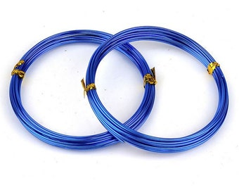 1mm Royal Blue Aluminum Wire, 18 Gauge Electroplated, 1T-10