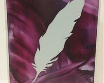 Encaustic Greeting Card 3D Feather Pink/Purple handmade