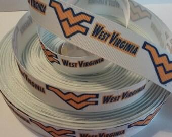 """West Virginia Mountaineers inspired 7/8"""" Grosgrain Ribbon"""