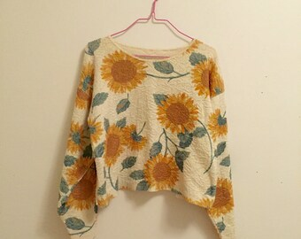90s Vintage Cropped Sunflower Sweater