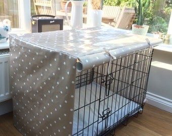 Medium Dog Crate Cover in Dotty Taupe Oilcloth