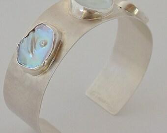 Sterling silver, keshi pearl cuff