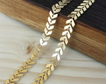 6.5mm Chevron Chain - 1 or 3 feet - Soldered Links - Bright Gold finish - Nickel Free