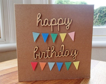 3D bunting birthday card