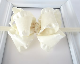 Ivory double ruffle bow headband, 4 inch boutique bow headband, baby toddler girls ivory cream headband, everyday fancy headband