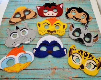 Lion Felt Masks! Lion, Mom Lion, Dad Lion, Leopard, Hyena, Bird, Meercat, Honey Badger, Hippo, and Warthog. Adult and Kid Sizes!