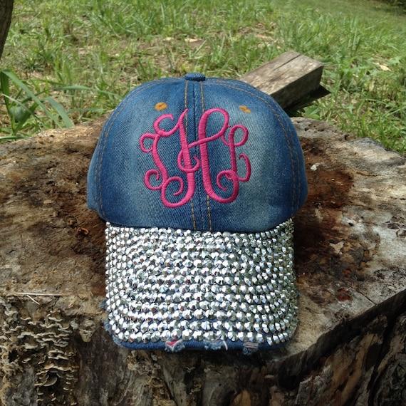 Monogrammed BLING Ball cap~ Monogram Hat ~ Monogram Beach Cap ~ Rhinestone Ball Cap ~ Golf ~ Chambray hat ~ Monogram Baseball Hat