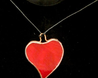Stained Glass -   Heart Pendant. Handcrafted, made with traditional Tiffany techniques. Nice gift on Valentine's Day