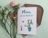 Mother's Day Card - cactus - cute