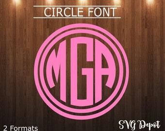 Circle Letters svg file, font svg, cut file, instant download