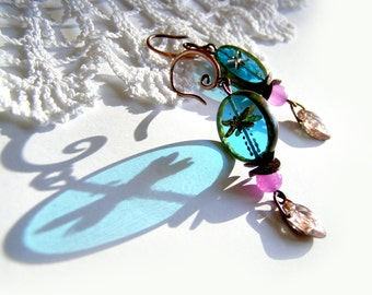Dragonfly Boho Earrings Blue Pink Autumn Bohemian Dangle Valentine Day Gift for Girlfriend Women  Birthday Daughter Crown Bridal Earrings