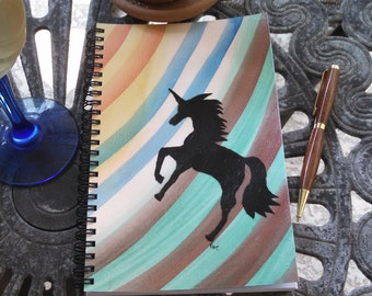Hand Painted Spiral Journal; Wire Bound Blank Notebook; Writing Journal, Small Sketchbook; Unicorn Silhouette Symbolizes Success