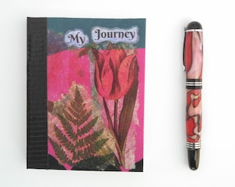 Small Hand Painted Journal; FREE SHIPPING; Writing Journal; Small Sketchbook; Glue Bound Blank Notebook; My Journey Collage Art