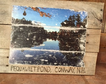 Scenic Rustic, Primtive, Shabby Chic, Pond View, White Mountains of New Hampshire on Weathered  Wood Pallet Picture