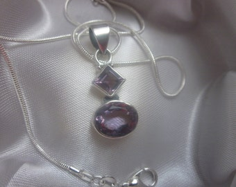 Purple Amethyst Gemstone Pendant on a Sterling Silver Necklace chain