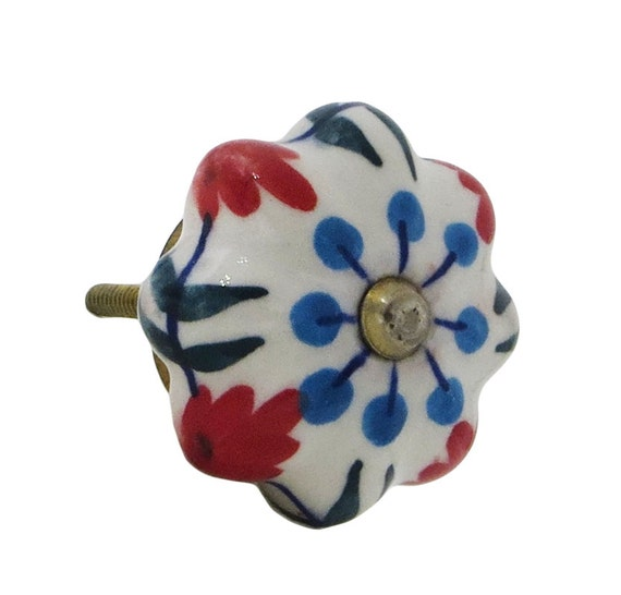 Blue dots red flowers melon shaped ceramic knob pull for dresser