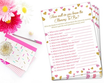 Pink and Gold Baby Shower Game, How Well Do You Know The Mommy To Be Printable, Glitter Hearts Confetti, Who Knows Mommy Best Pink And Gold