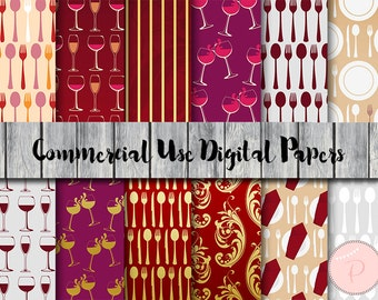 Wine digital papers, Dining, Drink, Instant Download Digital Paper, Commercial Use, Scrapbook Digital Papers, Digital Background, DP100