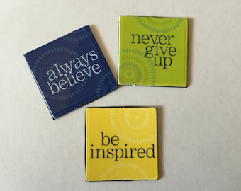 Colorful inspirational magnets - Set of 3