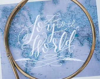 ON SALE Joy To The World : 11x14 Art Print. Blue Vintage Map. White Hand Lettering. Christmas Print. Hand Lettered Christmas Print