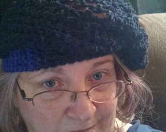 Handmade Knitted Lacy Beret Hat