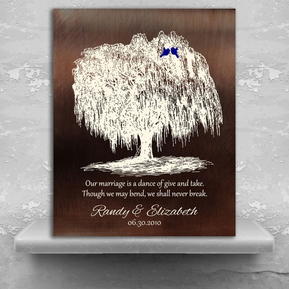 Traditional 9 Year Wedding Anniversary Gift: 9 Year Anniversary Personalized Family Willow Tree Gift Faux