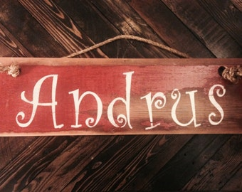 Barn wood name sign