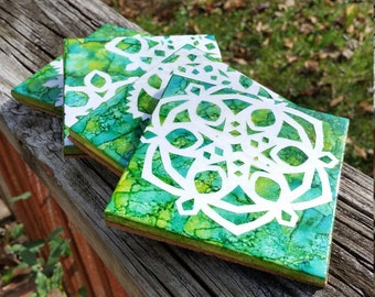 Green Snowflake Coasters
