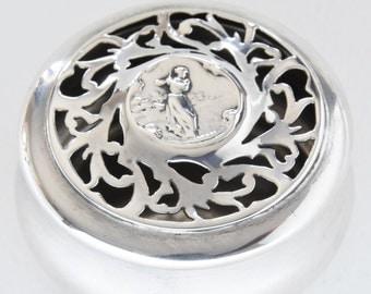 Lady Golfer Silver Potpourri Box 1904