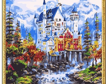 Wood Framed DIY Paint by Numbers Kit 'Castle' 20x16in