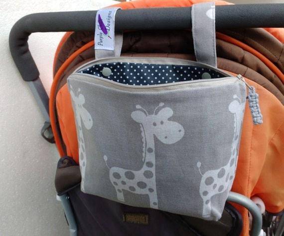Pram caddy / pram organiser / mini wet bag / Makeup Bag - gray with white giraffe