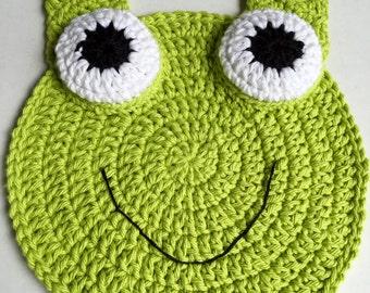 Baby Bib,Crocheted Frog Baby Bib, Green Frog Bib, Handmade Frog Baby Bib, Froggie Baby Bib