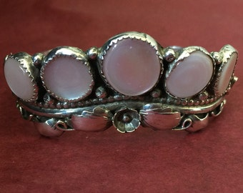 Gorgeous 1970's Mother of Pearl Sterling Silver Bangle, 25g