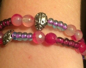 Lady bug beaded bracelet