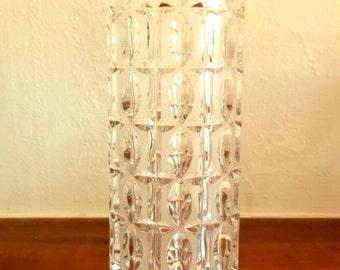 Crystal Vase  -  Handmade Vintage Faceted/Prism OP ART Clear & Opaque Glass German Mid Century