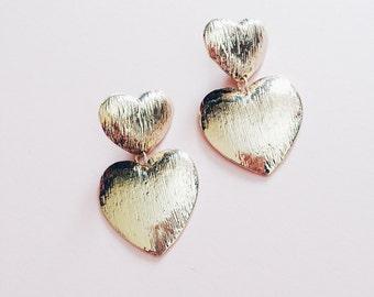 Huge Gold Tone Heart Earrings - Statement Earrings
