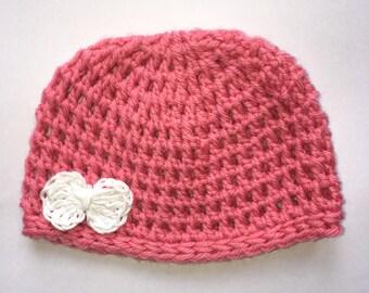 Crochet beanie in NZ Merino super soft. To fit NB-3mths.