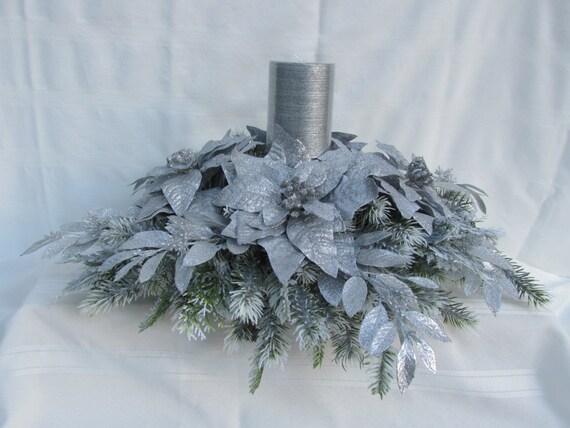 Silver Poinsettia Christmas Centerpiece