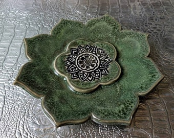 Jewelry dish, ring dish, green, clay, flower, trinket dish